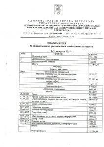Отчет о расходовании внебюджетных средств за 2 квартал 2017 года